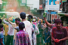Holi celebration in Gangtok, Sikkim, India.