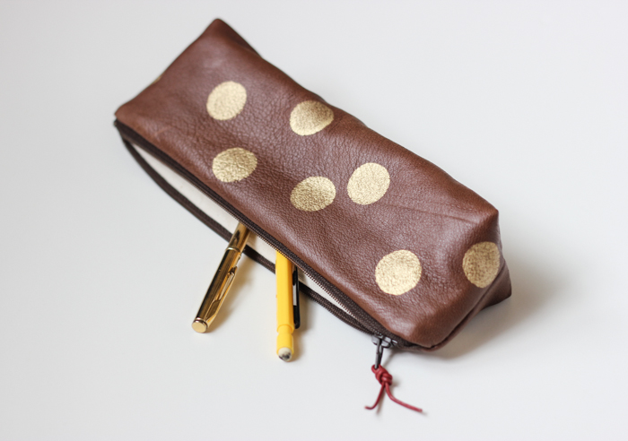 Chocolate Brown Leather & Gold Artist's Pouch