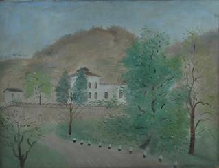 UMBERTO LILLONI - Paesaggio a Bellagio, 1942, olio su tavola, 50 x 65 cm