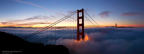 sanfrancisco city morning bridge fog sunrise fire burning goldengatebridge goldengate bayarea