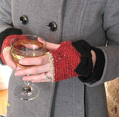 Red tweed crochet fingerless gloves