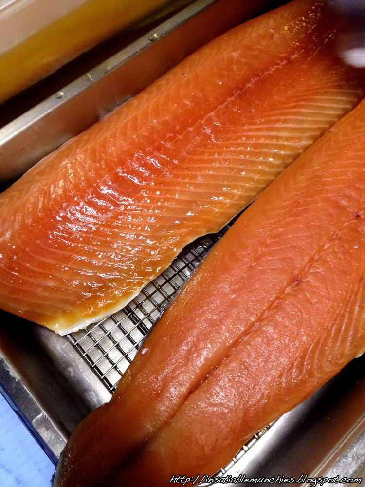 Cured salmon, ready for smoking