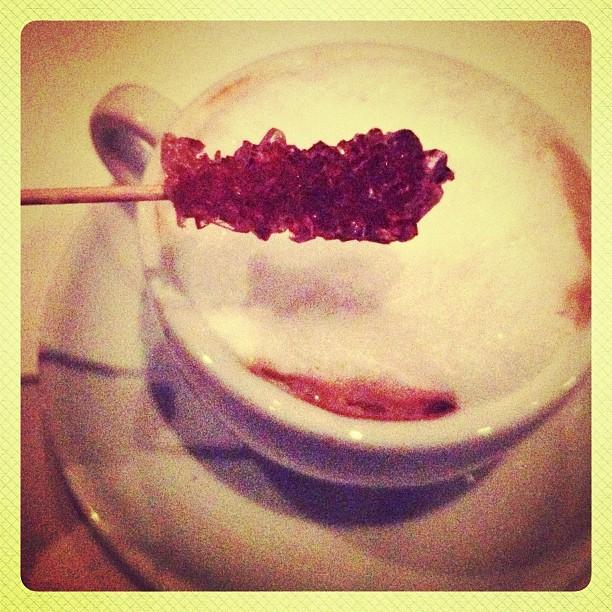 Cappuccino with a rock sugar stir...