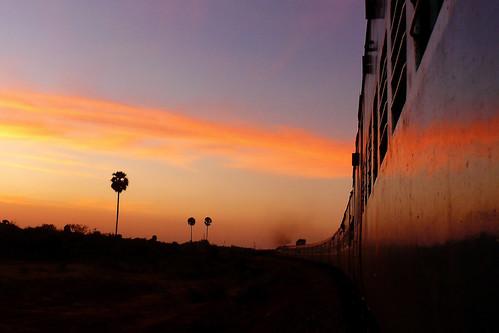 Indian train rides at sunset