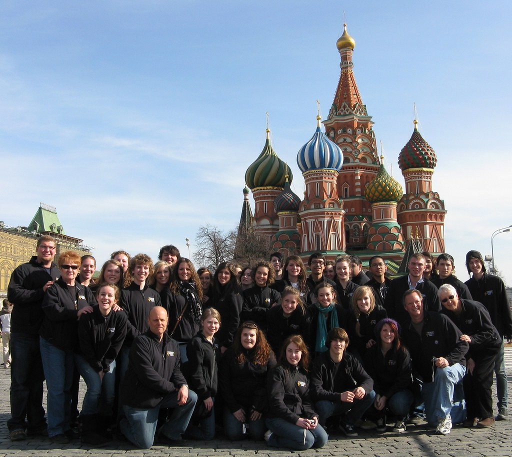 Puyallup High School Choir in front of St. Basil's Cathedral in Moscow