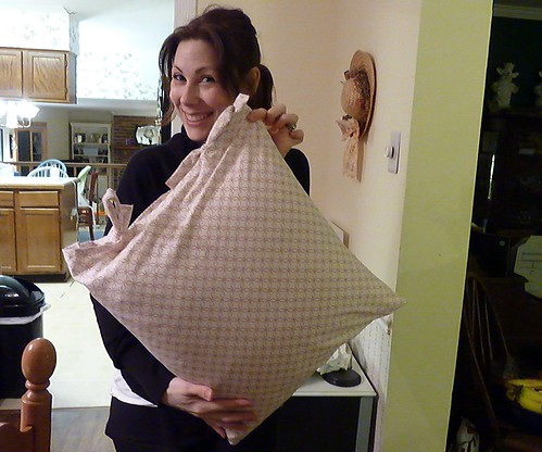 Stephanie with her new pillow!
