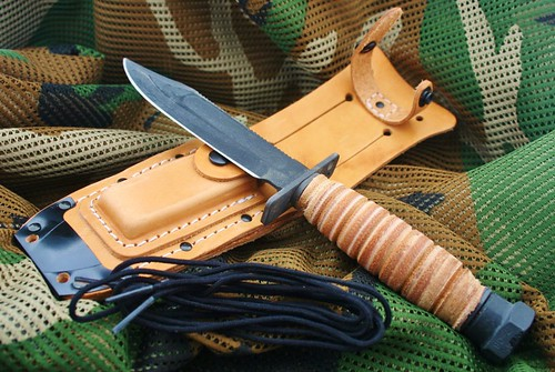 "Ontario 499 Air Force Survival Knife 5"" Carbon Steel Sawback Blade, Leather Handle, Leather Sheath"