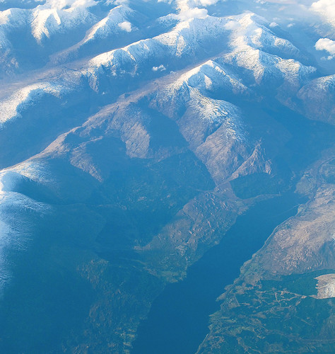 Loch Linnhe and mountains, aerial photo