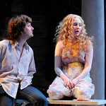Czech graduate student Jan (Manoel Felciano) says goodbye to young Esme (Summer Serafin) before heading to Prague in the Huntington Theatre Company's production of Tom Stoppard's <i>Rock 'n' Roll</i> at the Avenue of the Arts/BU Theatre. Part of the 2008-2009 season.