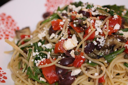Leftover Pasta with Grilled Artichoke Hearts, Roasted Red Peppers, Kalamata Olives, Arugula, Capers, and Feta Cheese