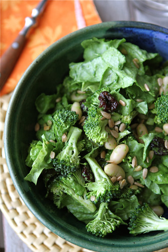 salad with broccoli dried cherry white beans sunflower seeds creamy ...