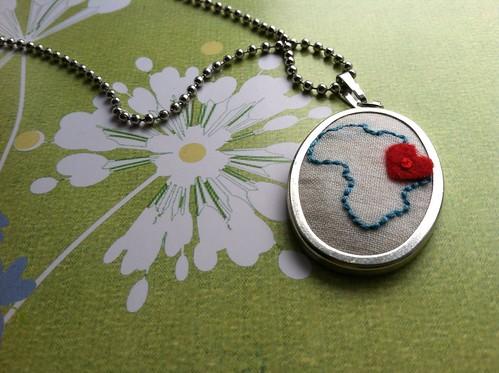 africa pendant (heart on ethiopia)