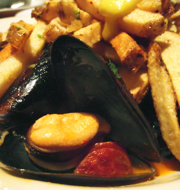 Close Up of Mussels & Chorizo