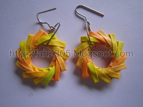 Paper Jewelry - Handmade Origami Wreath Earrings (Yellow) by fah2305
