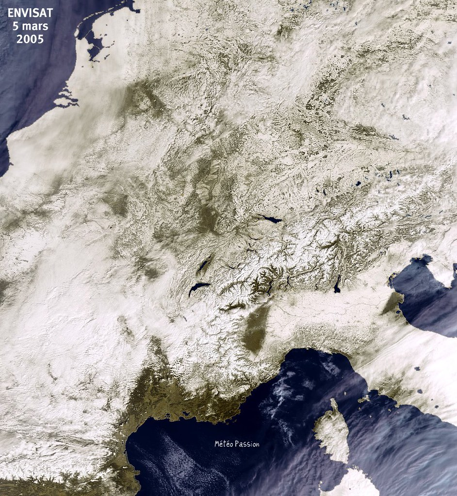 image satellite de l'Europe figée par la vague de froid le 5 mars 2005 météopassion