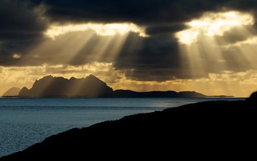 無料写真素材, 自然風景, 海, 暗雲, 薄明光線