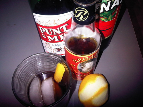 The Search for Delicious (rogue/beta cocktails): cynar, punt e mes, lemon juice, orange bitters, lemon peel, salt