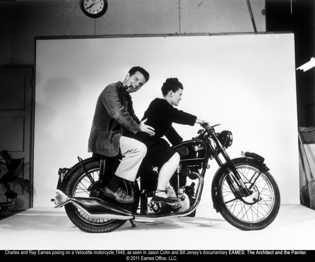 Ray and Charles Eames on a motorcycle (1948)