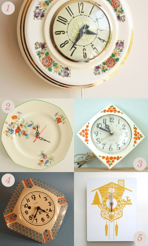 Granny chic inspired vintage, handmade and up-cycled clocks from Etsy | Emma Lamb