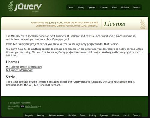 圖1: jQuery 官方網站的著作權授權專頁 (http://jquery.org/license/)