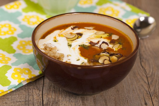 Warm Tomato Soup with Coconut Cream and Lemon-Thyme-Rosemary Oil