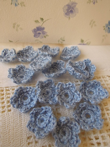 Blue Crochet Flowers by RubyRed06