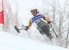 Josh Dueck grabs some air in the super-G portion of an IPC World Cup super combined in Panorama, B.C.