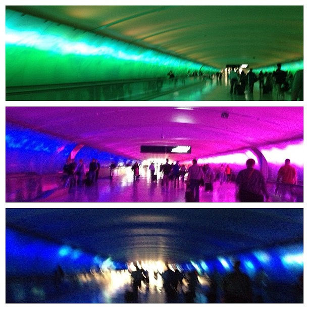 Layover. Trippy walkway complete with New Age music.