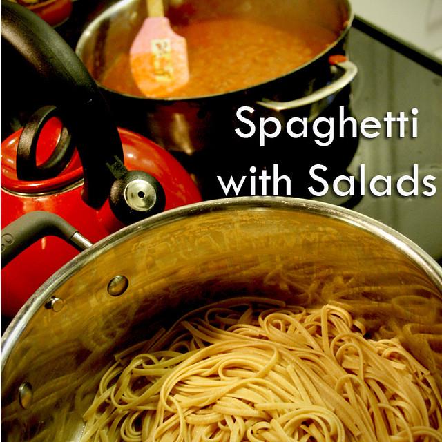 Spaghetti with Salads