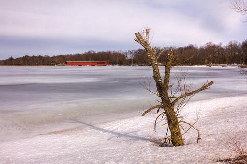 winter red ice river frozen unitedstates michigan unitedstatesofamerica coveredbridge mich hdr centreville threerivers photomatix saintjosephriver saintjosephcounty michiganregisteredhistoricsite puremichigan eos60d