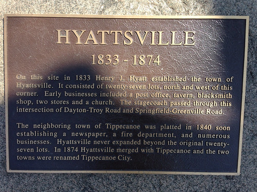 Hyattsville marker in Tipp City, OH