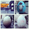 @fotor_apps #Fotor @thebigegghuntny : By the public plaza fronting the Avenue of the Americas entrance of Grace Building is a nest of three eggs: #egg140: Birds in Hats ( top right), #egg24: Ova Obsessive (bottom left) #egg90: Mulyin (bottom right). #grac