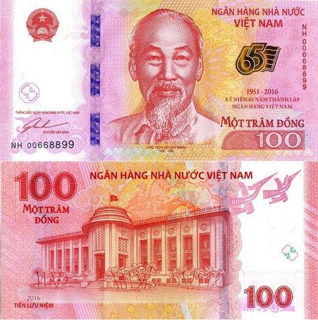 100 Dong Vietnam 2016, pamätná P125 UNC
