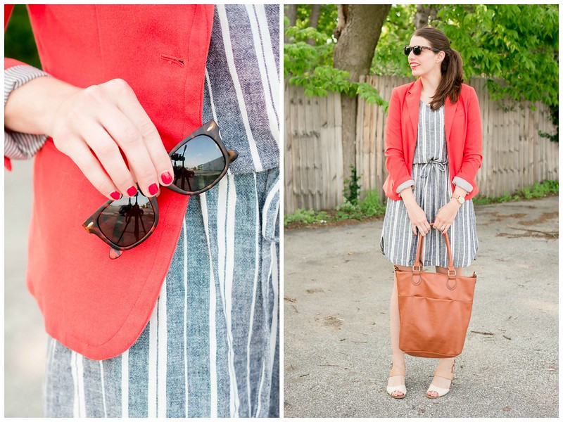 orange blazer + blue and white stripe Old Navy dress + tan tote bag; summer work outfit | Style On Target