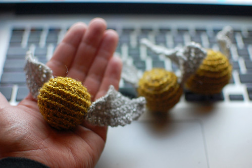crocheted golden snitches