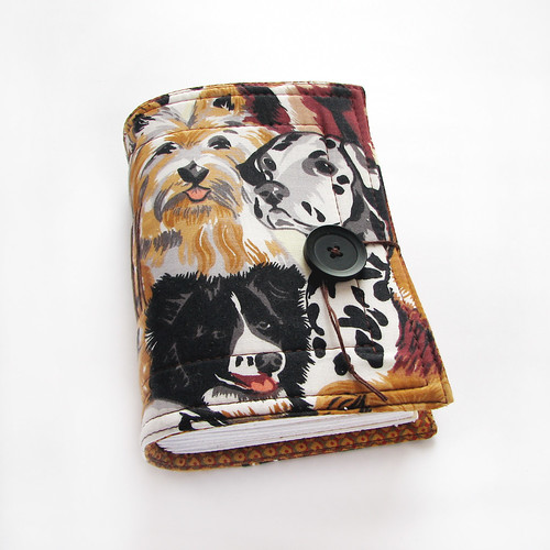 Dogs - handmade fabric journal