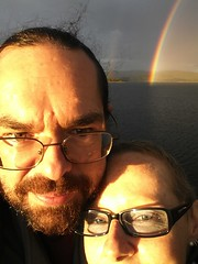 Donna and Chris with rainbow over Cardinia lake