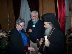 Jan and Harry Attridge with the Greek Patriarch of Jerusalem
