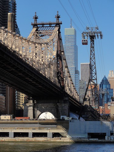 View of Queensboro Bridge and Tramway from Roosevelt Island New York