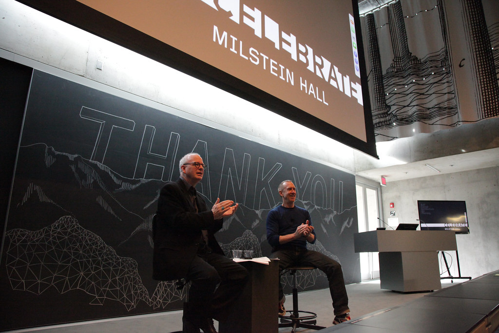 Timothy Murray, professor of English and director of the Society for the Humanities at Cornell, with choreographer and A.D. White Professor at Large William Forsythe, in the Abby and Howard Milstein Auditorium.