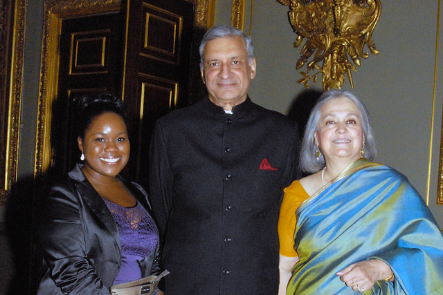Sharma (centre) with his wife Babli Sharma (right) and Zara MacFarlane