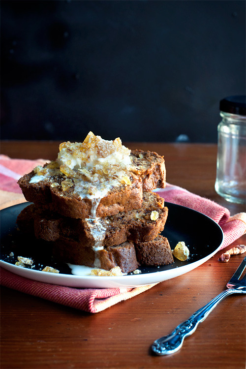 Spiced Banana Bread Stack with Pecan Brittle