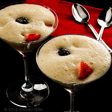 Zabaglione and Berries in Cocktail Glasses