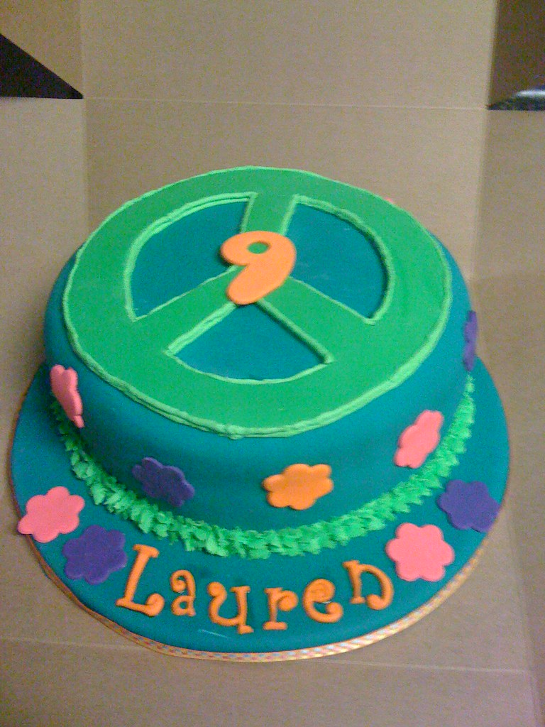 Groovy Peace Sign Birthday Cake Carmen Kelly Flickr Personalised Birthday Cards Epsylily Jamesorg