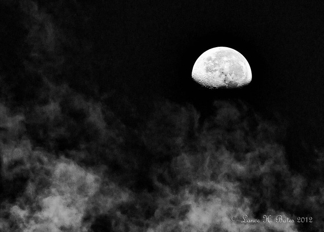20120213  Early morning moon above clouds