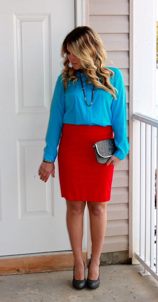 Turquoise and Red Outfit