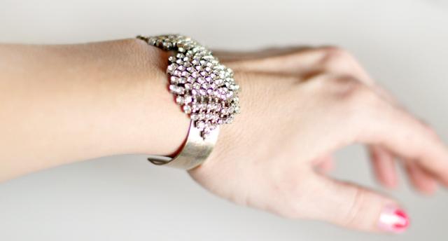 diy vintage rhinestone bracelet cuff