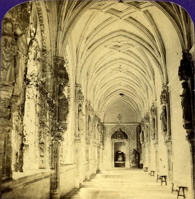 Claustro de San Juan de los Reyes. Fotografía estereoscópica de Jean Andrieu en 1868 con número de serie 2662