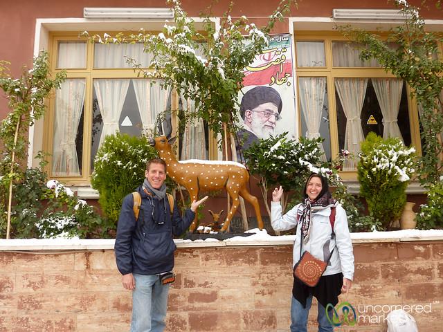 Dan & Audrey with Ayatollah - Abyaneh, Iran