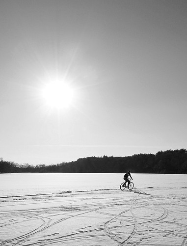 Ice bike under winter sun